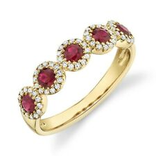 Ruby Diamond Ring 14K Yellow Gold Round Cut Anniversary Engagement Wedding Band