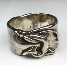Vintage Bat Ami Signed Sterling Silver Electroform Wide Bangle Bracelet NEE NR