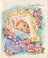 VINTAGE STRAWBERRY BLONDE NEW BABY BLUE BOOTIES PINK PINK ROSE MCM GREETING CARD