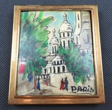 Antique french hand painted powder puff box w mirror Art Deco Paris Sacré Coeur