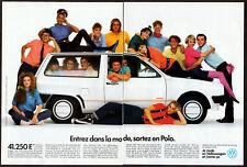 1986 VOLKSWAGEN Polo Junior Vintage Original 2-pages Print AD White car France