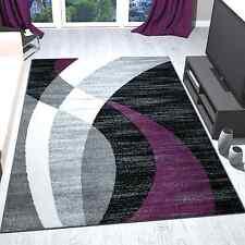 Alfombra de diseño moderna de pelo corto negra gris morada y blanca