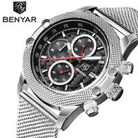BENYAR Waterproof Stainless Steel Chronograph Men Amry Quartz Wrist Watch Luxury