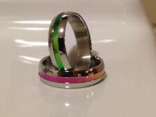 Pride Rainbow STAINLESS STEEL Ring, Gay, Lesbian, LGBT Size O