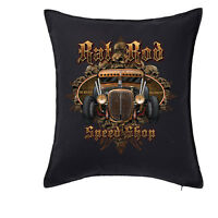 Hot rod Rust Cushion Cover Pillow Case Vintage Ford Chevy V8 Custom Rat Car 77