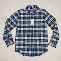 Croft & Barrow Flannel Button Down Shirt Men's S Long Sleeve Plaid Blue New $36