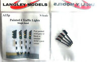 4 traffic lights single head A15p PAINTED N Gauge Scale Langley Models Kit 1/148