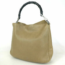 Authentic GUCCI Women Shoulder Bag 001 1638 Bamboo Handbag Leather Made in Italy