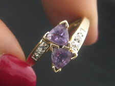 10K Gold Bypass Trillion Purple Amethyst Gemstones Ring W/Diamond Accents Size 7