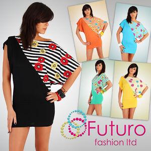 Sexy Mini Dress Flowers Motive Tunic Kimono Style Batwing Size 8 -12 HQ5051
