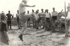 WWII German Large RP- Soldier- Semi Nude- Sports Event- High Jump- Named- 1941