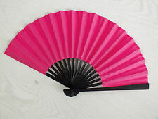 JAPANESE HOT PINK GEISHA BLACK FABRIC HAND FAN FANCY CHINESE WOMEN HEN PARTY