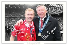 Paul Scholes & ALEX FERGUSON Manchester United firmata Foto Stampa Calcio