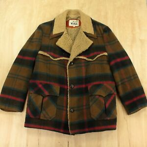 vtg usa made WOOLRICH wool over coat sz 46 lined plaid western jacket heavy