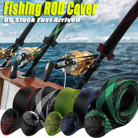 5Pcs Rod Sock Fishing Rod Sleeve Rod Cover Braided Mesh Rod Protector Pole US