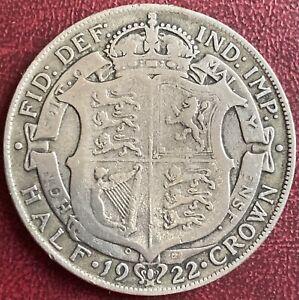 GB - 2/6 Half Crown .500 Silver Coin - 1922 (GY15)