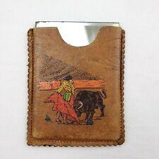 Vintage Bull Figher Tooled Leather Beveled Mirror Holder