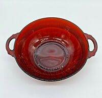 Vintage ANCHOR HOCKING Coronation Ruby Red Glass SERVING BOWL Decorative Handles