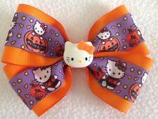 "Girls Hair Bow 4"" Wide Halloween Hello Kitty Flatback Alligator Clip"