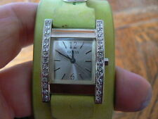 SALE Guess Rhinestone Green strap watch with fresh battery