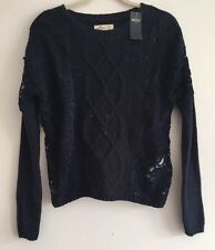 Hollister Women Sweater Navy Blue Lace Long Sleeve Cable Knit XS Xsmall👕