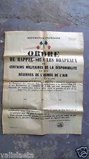 AFFICHE MILITAIRE RAPPEL SOUS LES DRAPEAUX MOBILISATION N°1 ARMEE DE L'AIR 1948