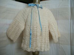 BEAUTIFUL HAND MADE CROCHET JACKET FOR YOUR BIG  BABY DOLL OR BIG BISQUE DOLL