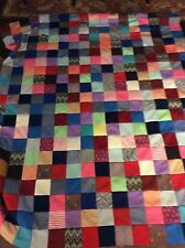 Checkerboard square Vintage fabric Quilt topper Polyester