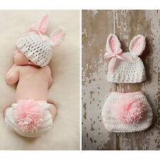 Newborn Baby Girl Boy Crochet Knitted Rabbit Costume Photography Hat Outfits