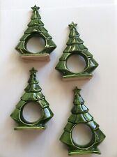 Lot 4 Ceramic Christmas Tree Napkin Rings / Green / Festive Holiday Dining Decor