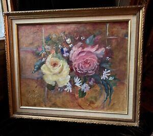 Vintage 20th Century Rose Floral Oil Painting Signed Gayle Gilt Wood Frame Mcm