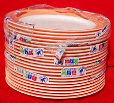 """Arcoroc Assiette Brush Orange 10"""" Dinner Plates Orange & White Lot of 22  S7973"""