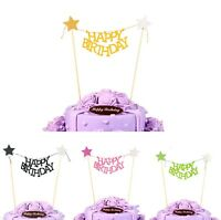 Happy Birthday Bunting Star Gold Cake Topper Unique Banner Party Decoration Baby