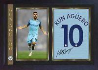 Kun Sergio Aguero signed autograph photo print MANCHESTER MAN CITY Framed