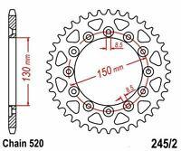 KR Kettenrad 40Z Teilung 520 HONDA XL 600 LM Paris Dakar 85-87 ... Rear sprocket