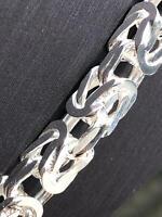 925 Sterling Silver Solid MENS KING FLAT BYZANTINE Chain Bracelet 6mm HEAVY