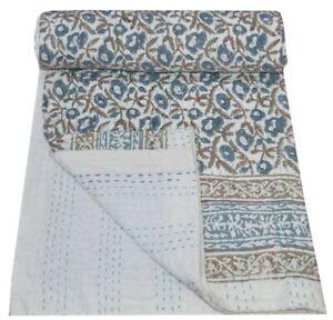 Indian Kantha Quilt Handmade Floral Print Reversible Blanket Throw Queen Gudari