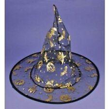infantil`S Negro/dorado BRUJAS Sombrero color fantasmal Disfraz de Halloween