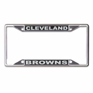 CLEVELAND BROWNS CHROME METAL LICENSE PLATE FRAME HIGH QUALITY DOMED GRAPHICS