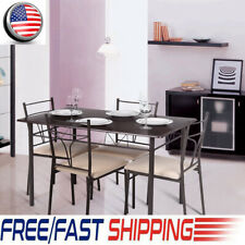 iKayaa 5PCS Modern Metal Frame Dining Kitchen Table Chairs Set for 4 Person Seat