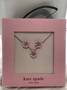 "New Kate Spade Into The Bloom Flower Stud Earrings & Necklace Set 17"" Great Gift"