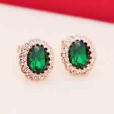 18K Rose Gold Filled GF Stud Earrings With Green SWAROVSKI Crystal