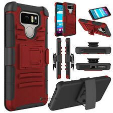 Camo Hybrid Phone Case Armor W/Kickstand Holster Clip Cover For LG G6 / G6+ Plus