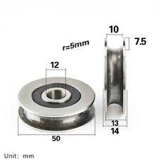 12x50x13mm 1PC U Groove Metal Pulley Ball Bearings Wheel Steel Guide Roller