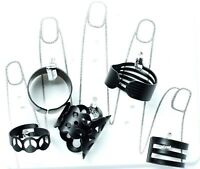NEW STACK BLACK KNUCKLE RING FASHION URBAN COLOUR ABOVE BAND MIDI RINGS 5 PC SET