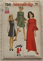 Vintage Dress Sewing Pattern*Simplicity 7941*Size 16*UNCUT/FF*bell sleeve*retro