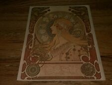 1967 Zodiac by Alfons Altons Mucha Giant Postcard Art Nouveau unused vintage htf