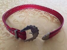 Vintage Red Silver Laced Leather Belt by Circle Y Size 32