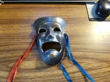 Vintage Brass Tragedy Face Mask  Theater Drama Ancient Replica Hanging 6.5""