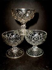 3 Anchor Hocking Clear WATERFORD Waffle Depression Glass Sherbets-Set of Three